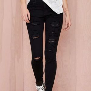 AGOLDE High Waisted Distressed Black Jeans
